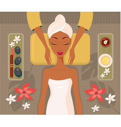 Beautiful african woman relaxing spa salon face vector