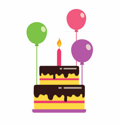 Cake with balloons vector