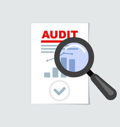 auditing icon - magnifier on report audit concept vector image
