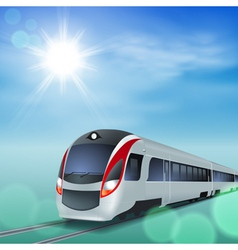 High-speed train at sunny day vector