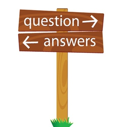 Wooden signpost for questions and answers vector