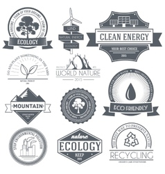 Ecology set label template of emblem element for vector