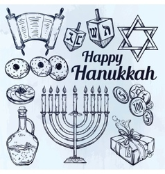 Hanukkah celebration elements set vector