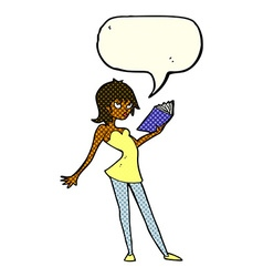 Cartoon woman reading book with speech bubble vector