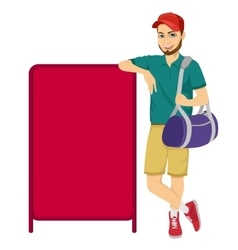 Athlete leaning against a red blank board vector