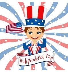 little boy celebrating independence day vector image