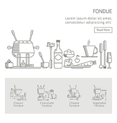 Set of fondue vector