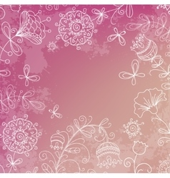 Simple flowers on a beautiful pink background vector