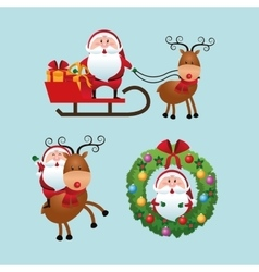 Merry christmas concept with santa and deer icon vector