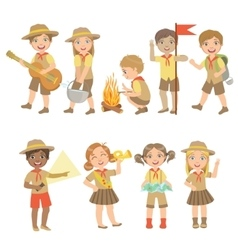 Kids scouts hiking set vector