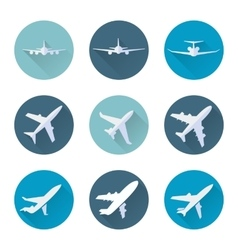 Airplane flat icons set vector