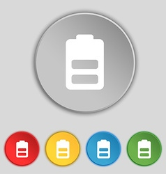 Battery half level Low electricity icon sign vector image vector image