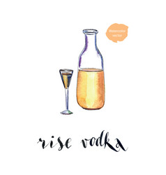 bottle of rise vodka with wineglass vector image