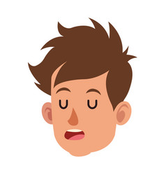 Cartoon head boy child close eyes vector
