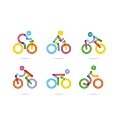 Colorful cycling and bicycles icons vector image
