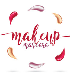 Different lipstick smears on white background vector