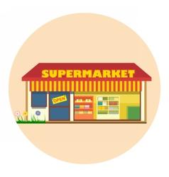 Digital super market building icon vector