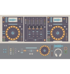 dj mixing decks and elements vector image
