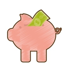 Drawing piggy money bill dollar vector