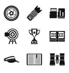 Fitness news icons set simple style vector