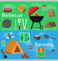 Flat style barbecue and camping banners vector