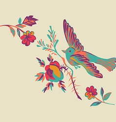 Flying bird with branch of a rose isolated beige vector