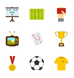 Football briefing icons set flat style vector