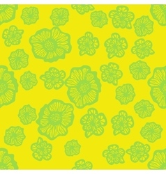 Green and yellow seamless flower pattern vector image vector image