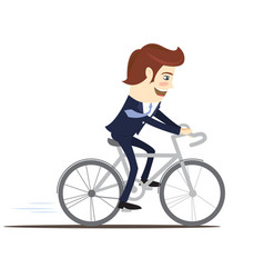 Happy businessman wearing suit riding bicycle vector
