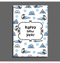 Happy new year card with cute cartoon seal vector