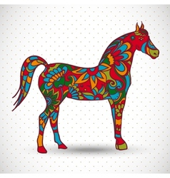Horse with flowers and ornaments vector image vector image