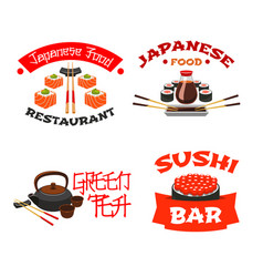 Isolated icons for sushi bar or restaurant vector