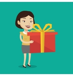 Joyful caucasian woman holding box with gift vector
