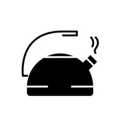 kettle metal icon black sign vector image vector image