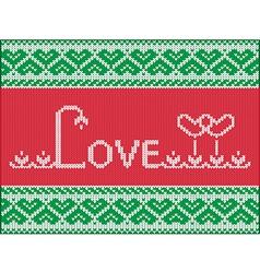 Knitting love card vector image