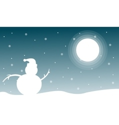 Landscape of christmas with snowman at night vector