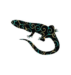 Lizard reptile color silhouette animal vector