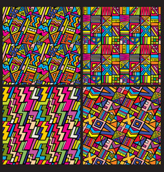 multicolor tribal african seamless patterns vector image