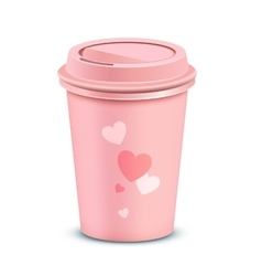 Pink coffee cup vector image