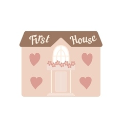 Pink wedding house for newlyweds with windows vector