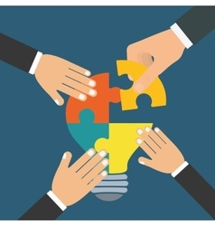 puzzle hand teamwork support design vector image vector image