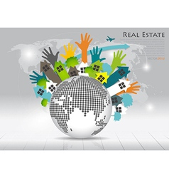 Real estate house on green earth vector