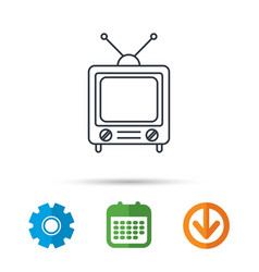 Retro tv icon television with antenna sign vector