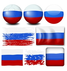 Russia flag on different items vector