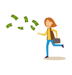 Sad upset woman running after money flying away vector