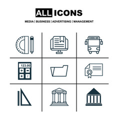 set of 9 education icons includes document case vector image vector image