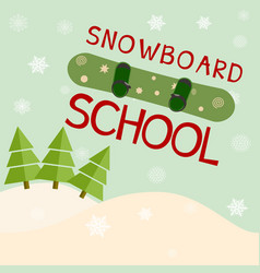 Snowboard school logo template vector