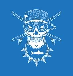 Surfing skull vector image vector image