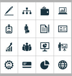 Trade icons set collection of id badge hierarchy vector