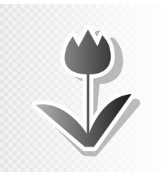 Tulip sign new year blackish icon on vector